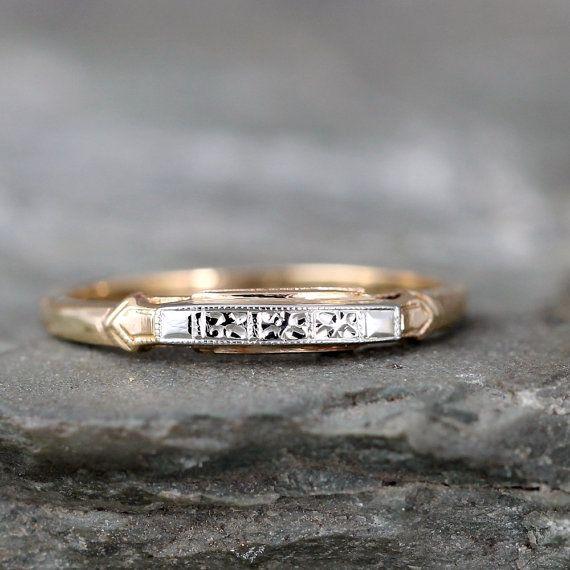 14K Yellow and White Gold Vintage Wedding Band - Circa early 1960's - Retro Wedding Ring - Mid Century Wedding Jewellery