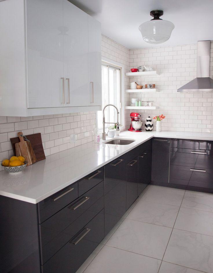 White subway tile + modern black kitchen cabinets