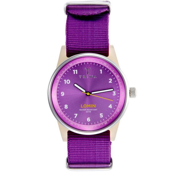 Triwa Women's Women's Purple Lomin Canvas Strap Watch - Purple ($50) ❤ liked on Polyvore featuring jewelry, watches, purple, quartz movement watches, round watches, purple jewelry, triwa and purple watches