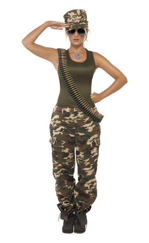 Ladies Khaki Camo Costume.