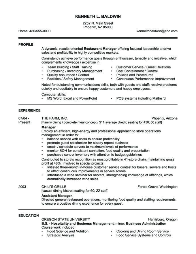 Free Resume Templates Canada Sample Resume Templates Restaurant Management Manager Resume