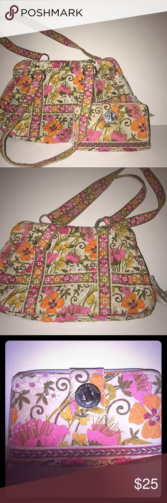Vera Bradley Tea Garden Purse and turnlock wallet Vera Bradley Tea Garden Purse & Turnlock wallet in good used condition.  No staining, tears or flaws on either item. Features a grey background with hot pink and orange floral pattern. Vera Bradley Bags Shoulder Bags