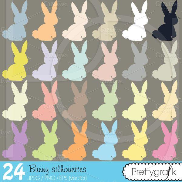 bunny rabbit clipart commercial use by Prettygrafik Design on @creativemarket