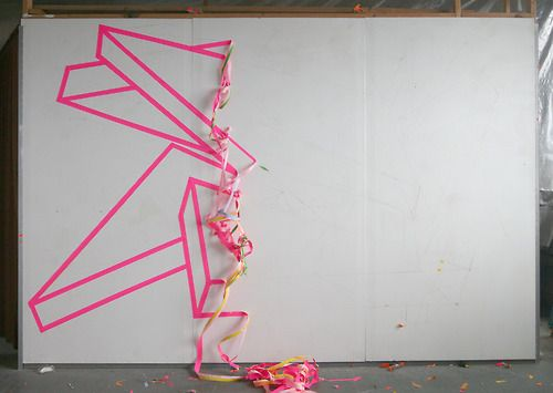 Brightly coloured tape is a great way to decorate walls. My idea was for the front of the industrial shed which our reception was in - to spell something out. Imagine two doors coming together to say 'Just Wed'.  Wedding, Wedding Decor, DIY Wedding, DIY bride