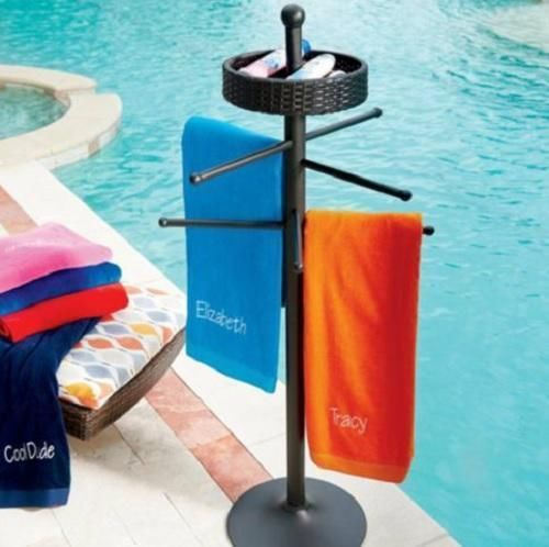 Brown Resin Wicker Pool Spa Towel Rack Bar Outdoor