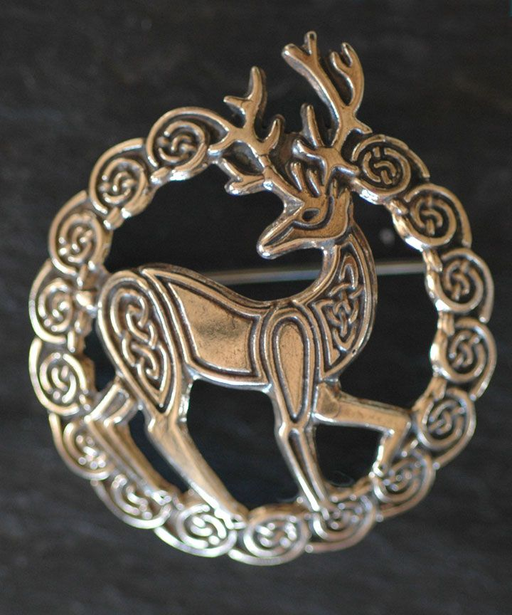 HERNE - STAG - Bronze Celtic Brooch By Welsh artist Jen Delyth - Celtic Art Studio