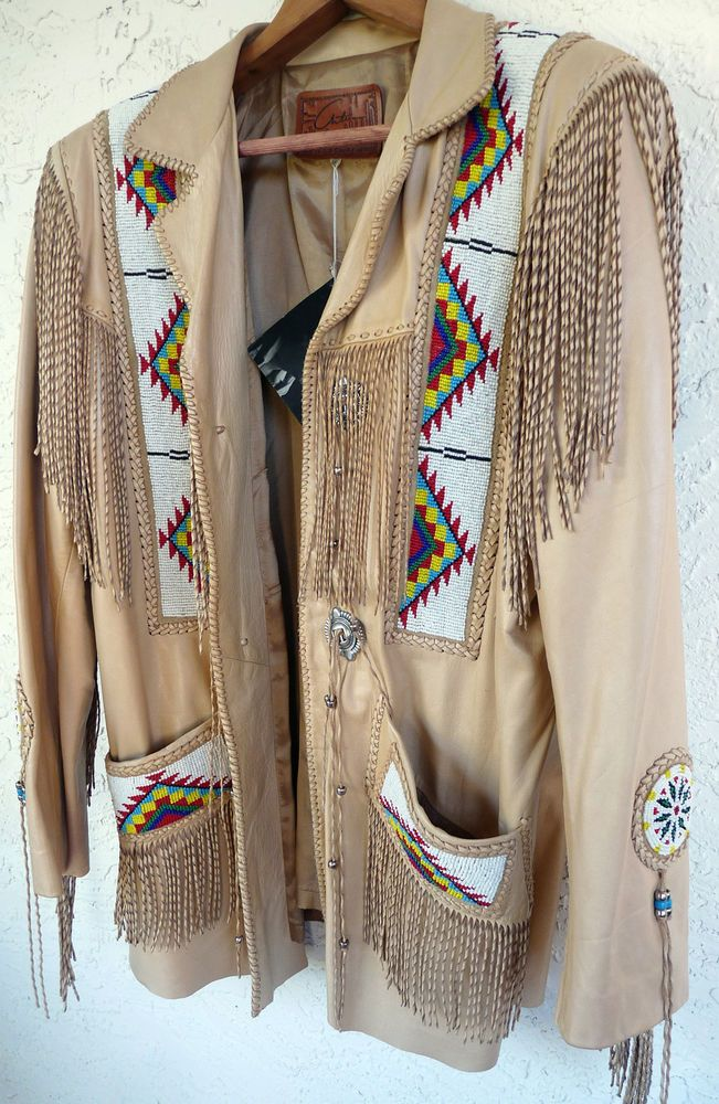 Mens Western Leather Jacket Native American Indian Beads