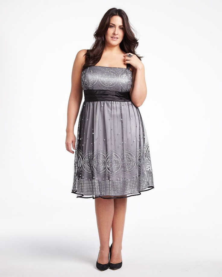 Embroidered Glitter Dress Addition Elle Plus Size
