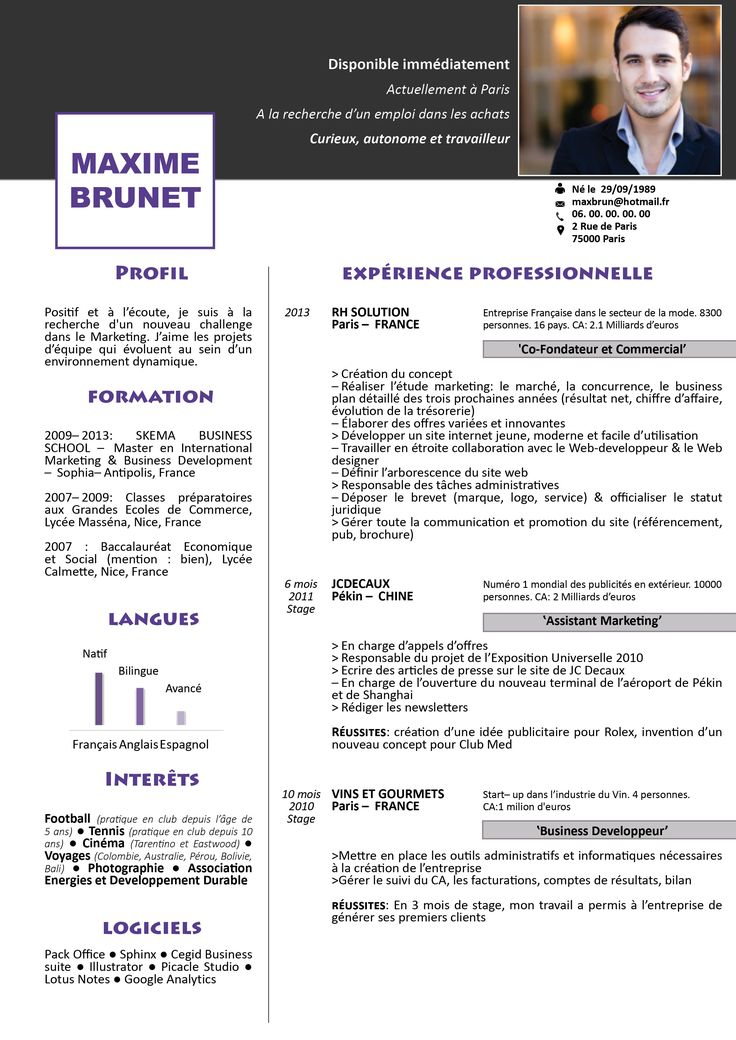 exemple de cv moderne et simple
