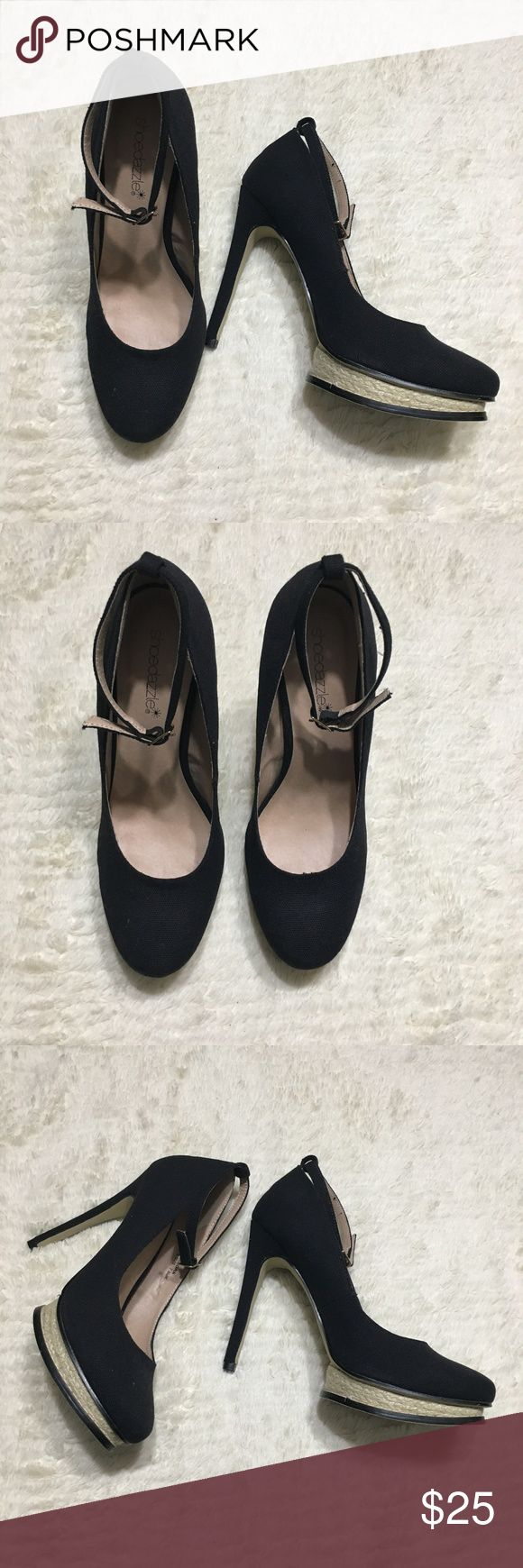 "NWOB Shoe Dazzle Allegra Black Heels NWOB: Wear on bottoms from trying on only.  Platform pump with ankle strap and espadrille platform  FIT: True to size COLOR: Black HEEL HEIGHT: 5"" heel* PLATFORM: 1"" platform* Shoe Dazzle Shoes Heels"