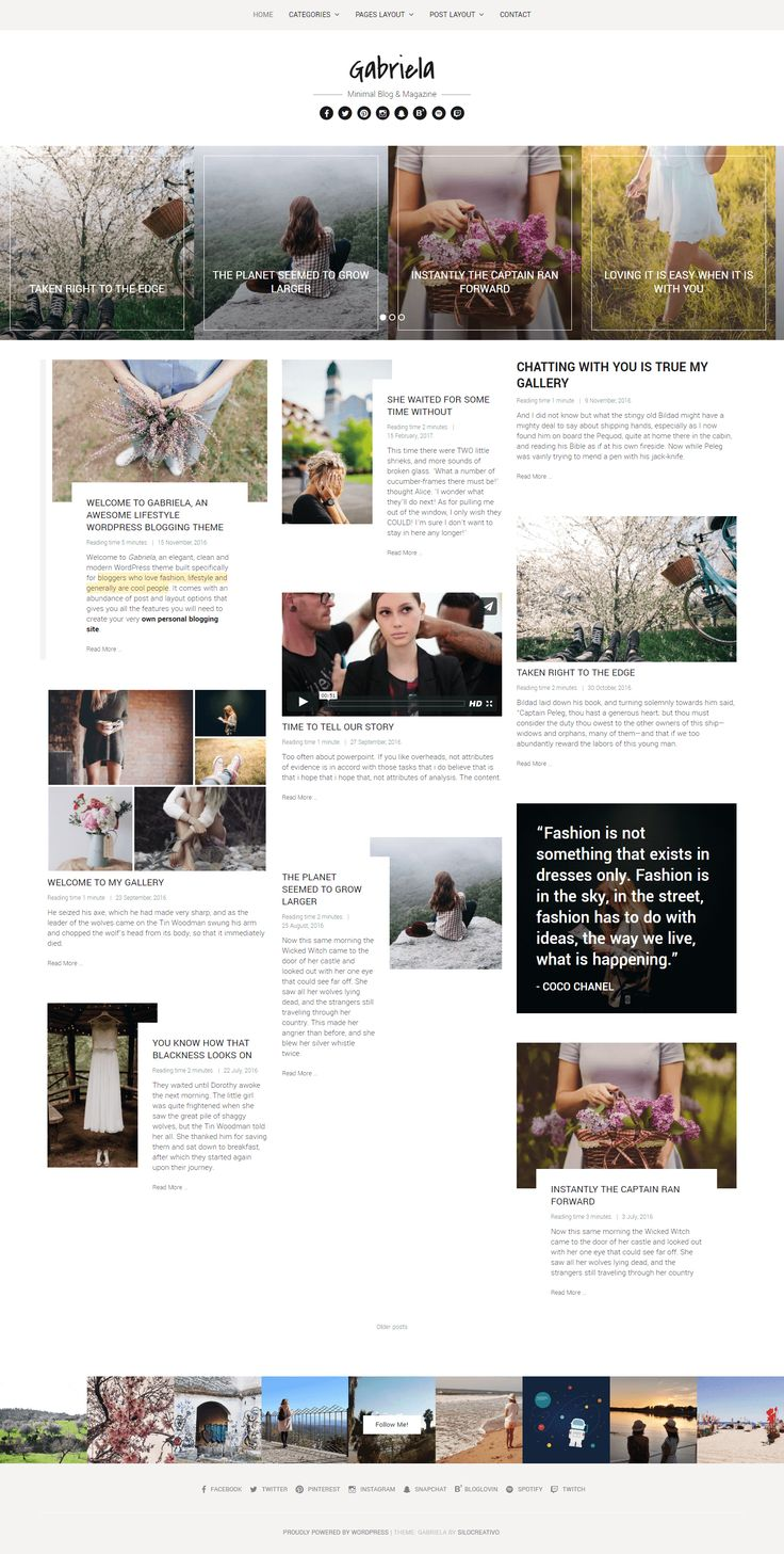 AD: WordPress Template for Blog: Gabriela is a modern and easy-to-use WordPress theme designed especially for bloggers who love sharing their thoughts about fashion, lifestyle, food or any topic that relies heavily on images, galleries, audio and video.