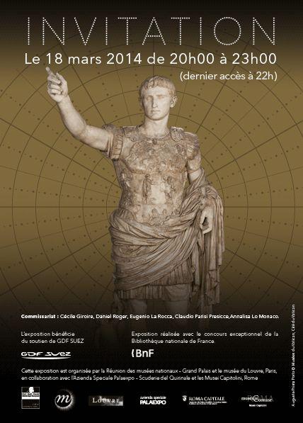 """Vernissage de l'exposition ce soir : """"Moi, Auguste: Empereur de Rome""""  #expoAuguste au Grand Palais (Paris) du 19 Mars au 13 juillet 2014."""