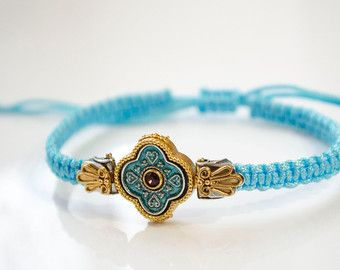 Handmade Prayer Rope, Komboskini, Chotki ,Cross, Bracelet, 925 Silver Cross,Dark Pink Swarovski stone with Turquoise Bracelet
