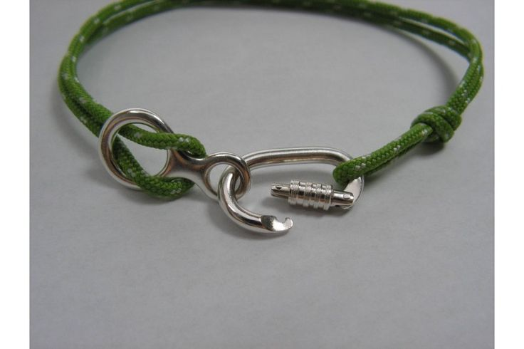 Bracelet With Climbing Locking Carabiner and Figure 8 Belaying Device