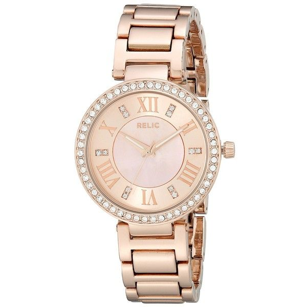 Relic Isabelle (Rose/Mother of Pearl) Watches ($53) ❤ liked on Polyvore featuring jewelry, watches, gold, mother of pearl watches, bezel watches, relic watches, analog watches and rose jewelry