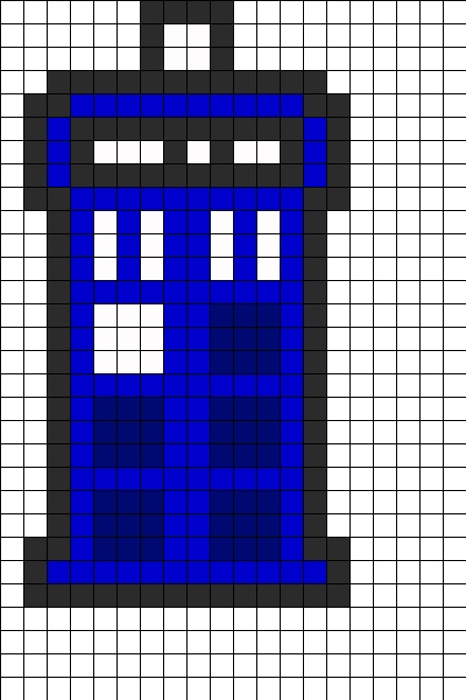 Don't care much for bead patterns, but these resemble 8-bit art so much!  TARDIS Perler Bead Pattern | Bead Sprites | Misc Fuse Bead Patterns