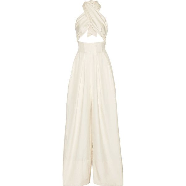 Rosie Assoulin Artichoke Hearts cutout wool and silk-blend satin-twill... ($2,255) ❤ liked on Polyvore featuring jumpsuits, jumpsuit, rosie assoulin, bridal jumpsuits, cut out jumpsuit, white satin jumpsuit, white halter jumpsuit and white wide leg jumpsuit