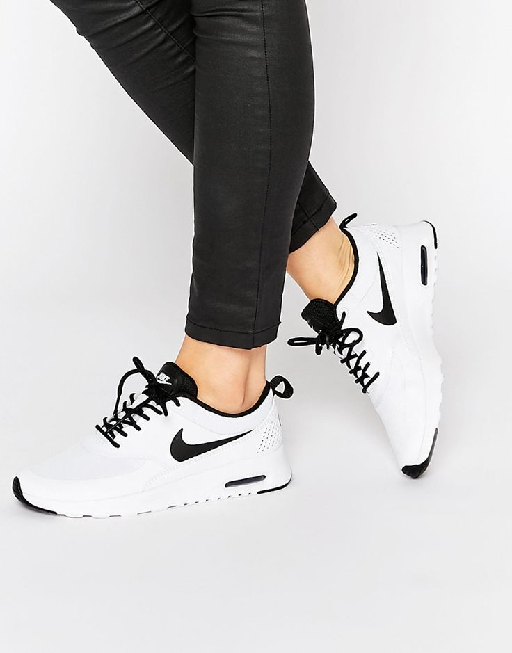 Image 1 of Nike White & Black Air Max Thea Trainers