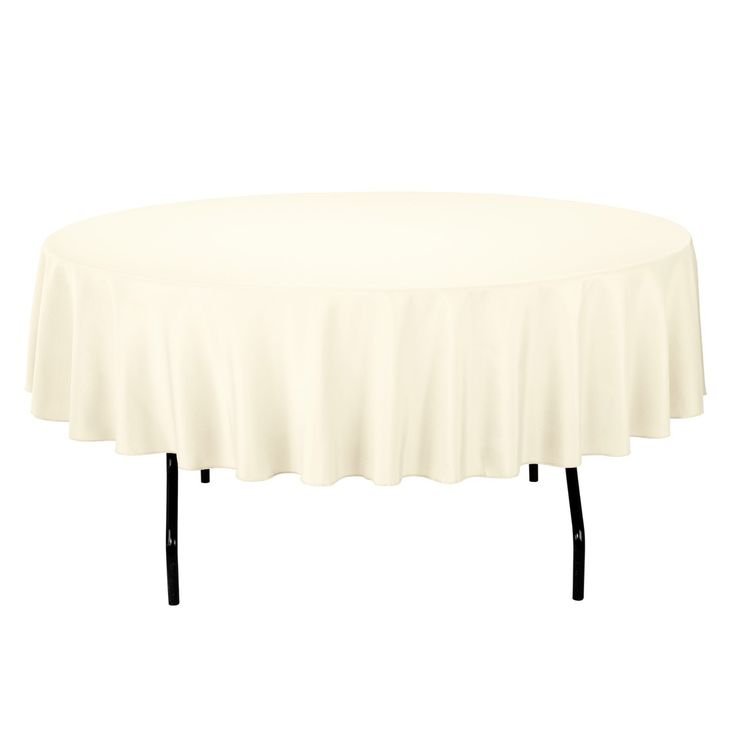 90 inch Round Economy Polyester Tablecloth Ivory- less than $5 each!!