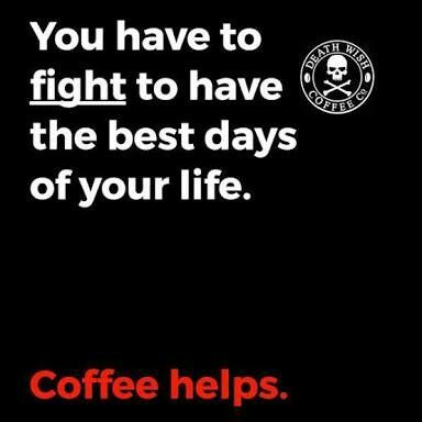 Good Morning! ✌☕️Fight with a cup of coffee in one hand. #CoffeeMemes