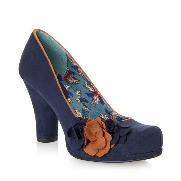 RUBY SHOO Eva Flower Courts NAVY SUEDE