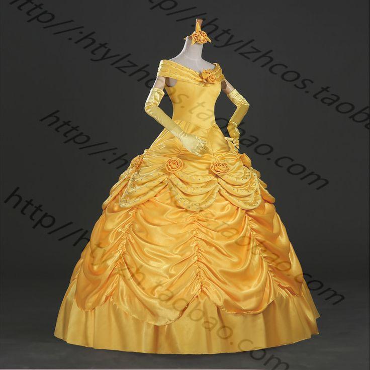 princesse belle robe belle et la b te belle cosplay costume pour wemen dans habits de nouveaut. Black Bedroom Furniture Sets. Home Design Ideas
