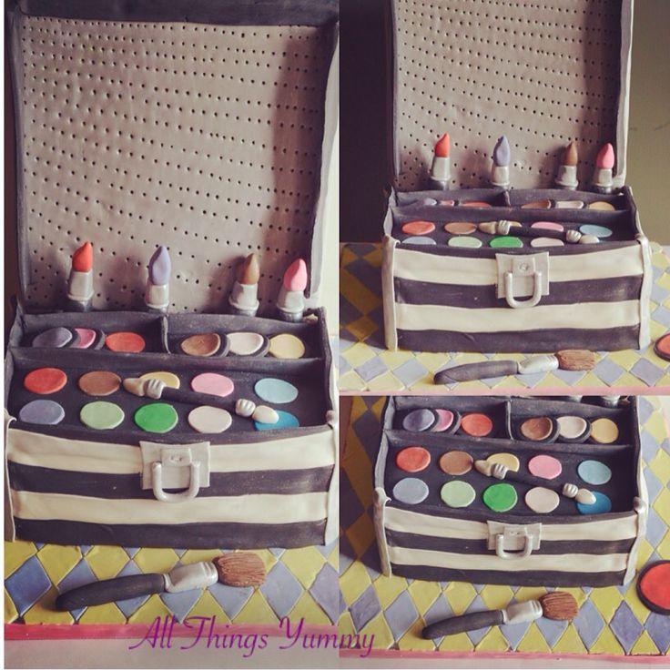 All that she wants!! A makeup kit cake... One of the toughest cakes I have had to do.. Still a long way to go to perfect this one!! #atyummy #makeupkit #makeup #powderroom #eyeshadow #lipstick #cosmetics #lipcolor #blush #makeupbrush #makeupartist #girliecake #birthdaycake #customisedcake #redlipstick #chocolatecake #makeuptheme #baker #cakeartist