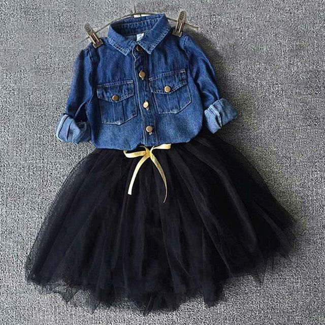 New Spring Autumn Kids girls clothes Dresses girls denim blouse shirt +tutu dress  for Girls casual Children Clothing set