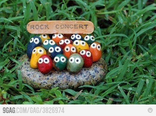 Rock concert garden art ... <3 this simple fun idea for decorating a child's garden. Colourful, easy to make and super cute. Would make a great gift and suit pots & container gardens. Make your own plant markers @ http://themicrogardener.com/20-creative-diy-plant-labels-markers/ | The Micro Gardener