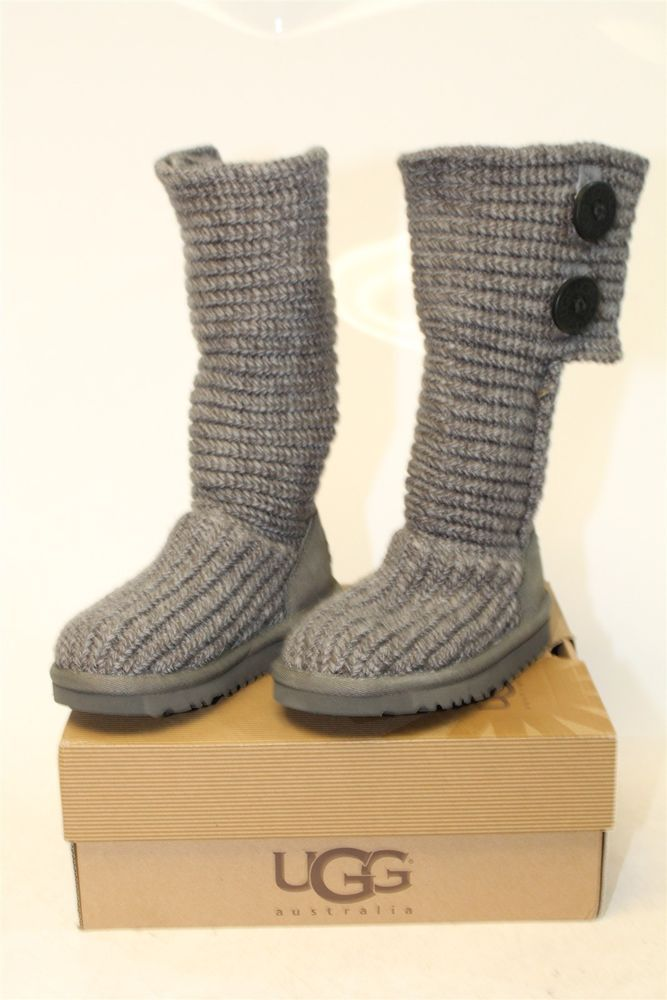 Ugg Australia New Cardy Youth Little Girls 9 Grey Sweater Cable Knit