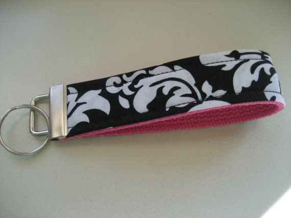 Black damask fabric key wristlet (JustMeeCT, Etsy)