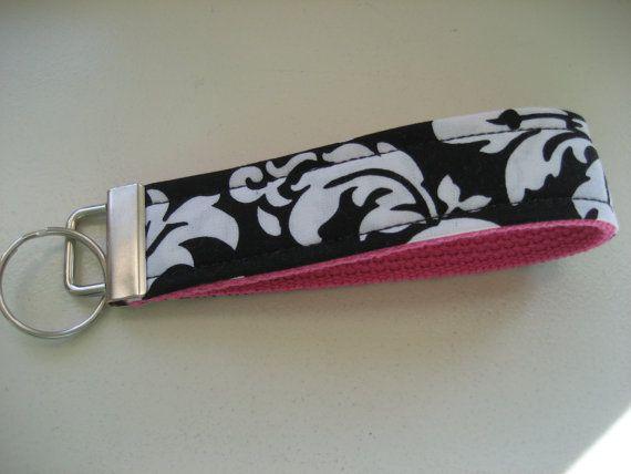 Black damask fabric key wristlet (JustMeeCT, Etsy)