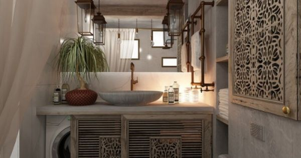 This is a great idea for a very small home.  Would need enough room for plumbing.  homedesigning:  (via 3 Feminine Apartments Designed For 3 Sizes) | Pinterest…