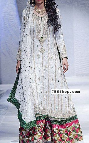 Off-White Crinkle Chiffon Suit   Buy Pakistani Fashion Dresses and Clothing Online in USA   www.786shop.com