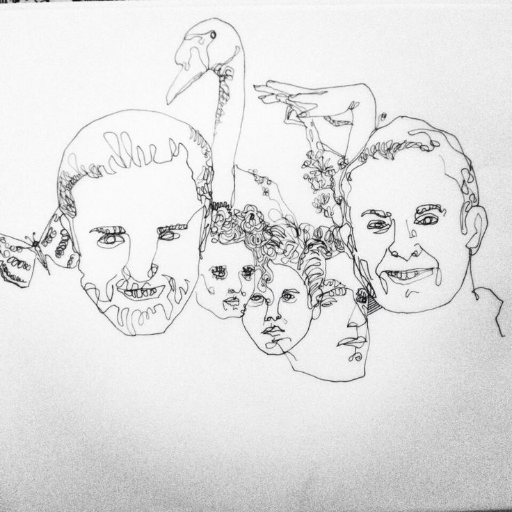 Line drawing of faces.