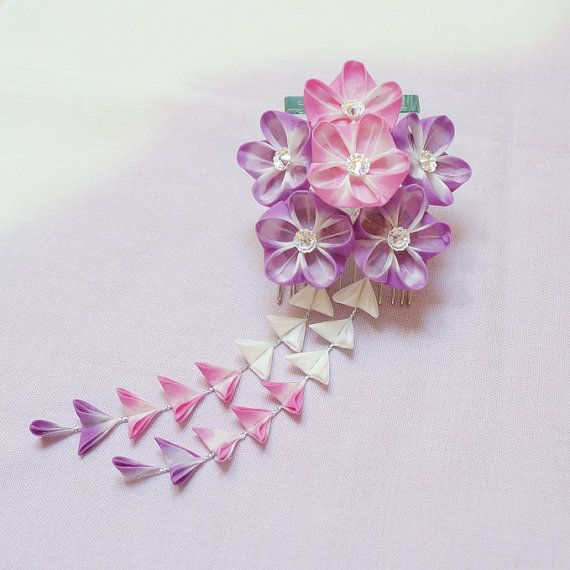 pink and purple tsumami kanzashi with shidare
