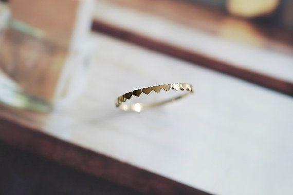 14K solid gold schöne Herzform blinken minimal von TInyCamellia