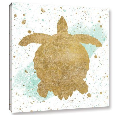 "Bay Isle Home 'Silver Sea Life Aqua Turtle' Graphic Art Print on Canvas Size: 36"" H x 36"" W x 2"" D"