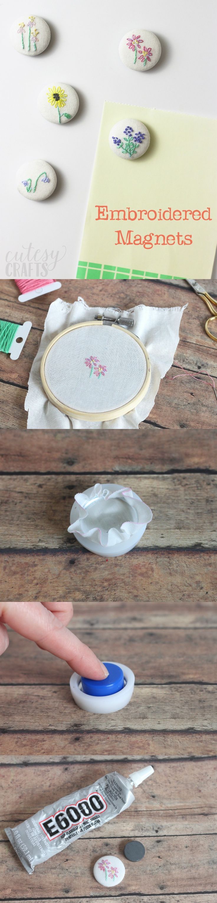 If you love the look of hand embroidery, these DIY magnets are perfect for you. The delicate floral pattern is so pretty! These make great gifts too. via @diy_candy