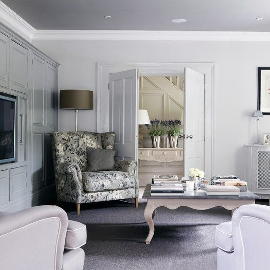 Grey and lilac living room | Living room decorating ideas | Country Homes & Interiors | Housetohome.co.uk