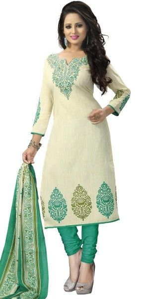 Fantastic Off-White Cotton Straight Suit With Dupatta.