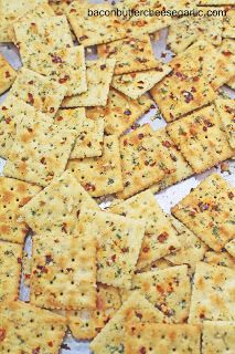 Bacon, Butter, Cheese & Garlic: Fire Crackers...saltine crackers coated in Ranch, garlic, chili flakes and other good stuff.  These are addictive!
