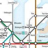 Another finely done artistic approach to Eisenhower Interstates in a classic tube rail map. This one focuses-in a bit up in the Midwest/Upper MW. There are more visuals. . .