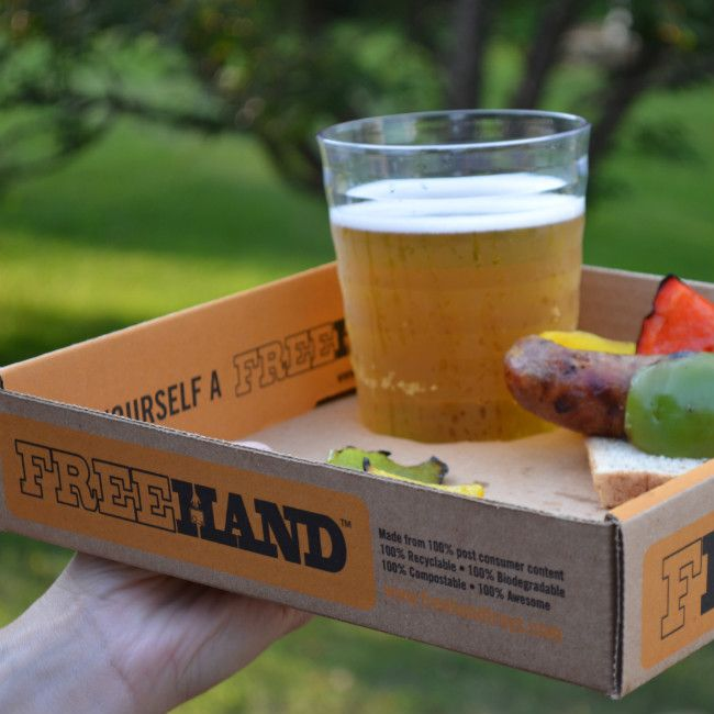 Freehand Tray: love this idea for a disposable tray! And serve beer omg