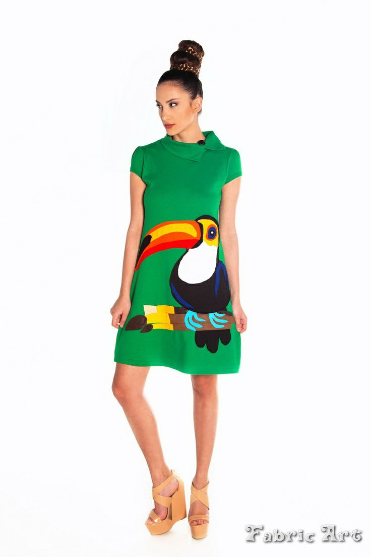 """A"" line mini dress with handmade applique ""Toucan Bird"""