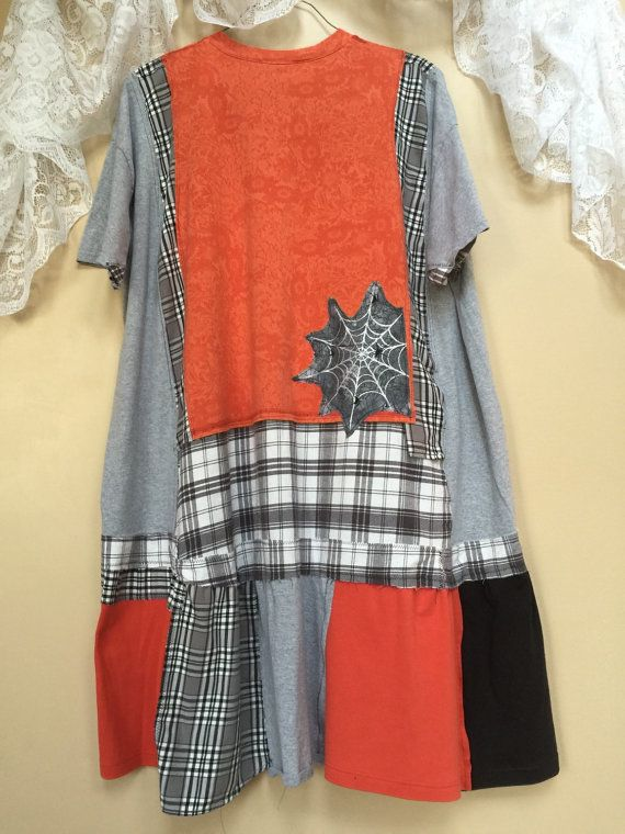 Upcycled Plus size Halloween dress Funky Plus size Tunic