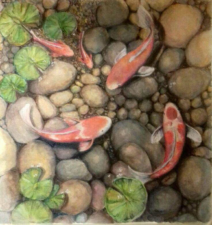 Pintura a acuarela. Tamaño 60 x 50cm aproximado.  En venta. Este cuadro contiene los cinco elementos del Feng Shui.
