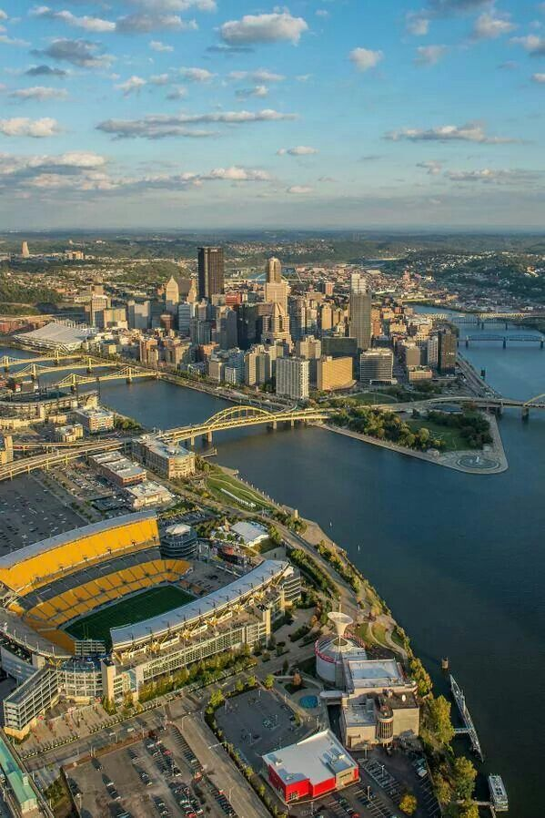 Pittsburgh ~This is where the Allegheny and Monongahela Rivers meet to form the OHIO RIVER ~ and there's 3 Rivers Stadium!