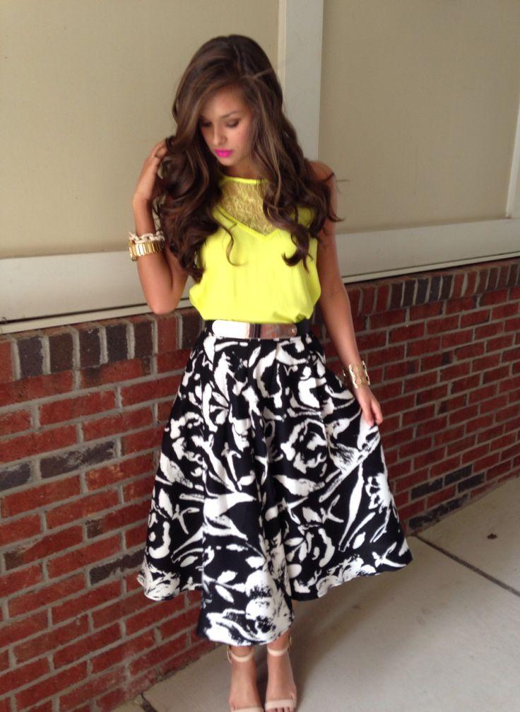 Neon & floral midi skirt #swoonboutique