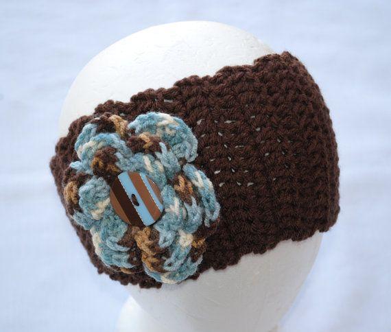 Modern Blue / Brown Crochet Head Band Ear Warmer by LittleMissyMe, $15.00